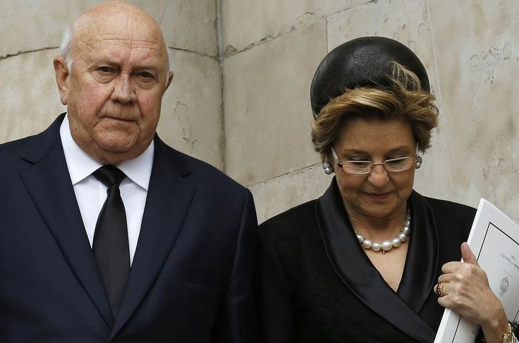 Elita de Klerk (wife of Frederik Willem de Klerk - South African politician who served as the country's State President from September 1989 to May 1994) at Margaret Thatcher's funeral.