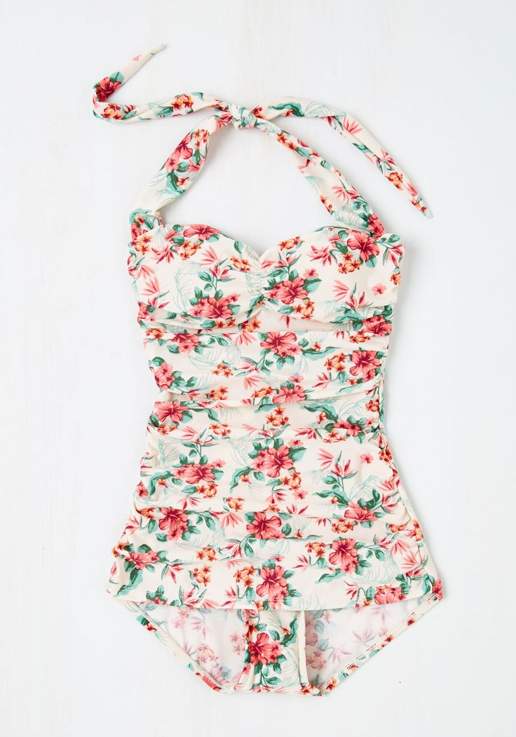 Never Been Better One-Piece Swimsuit in Floral. Beach weather certainly dazzles you, so sunbathe the day away in this Bettie Page swimsuit! #pink #modcloth