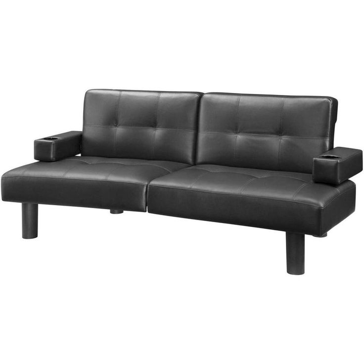 Contemporary Sofa Faux Leather Futon with Cup Holders Living Room Home Furniture #HomeFurniture #Contemporary