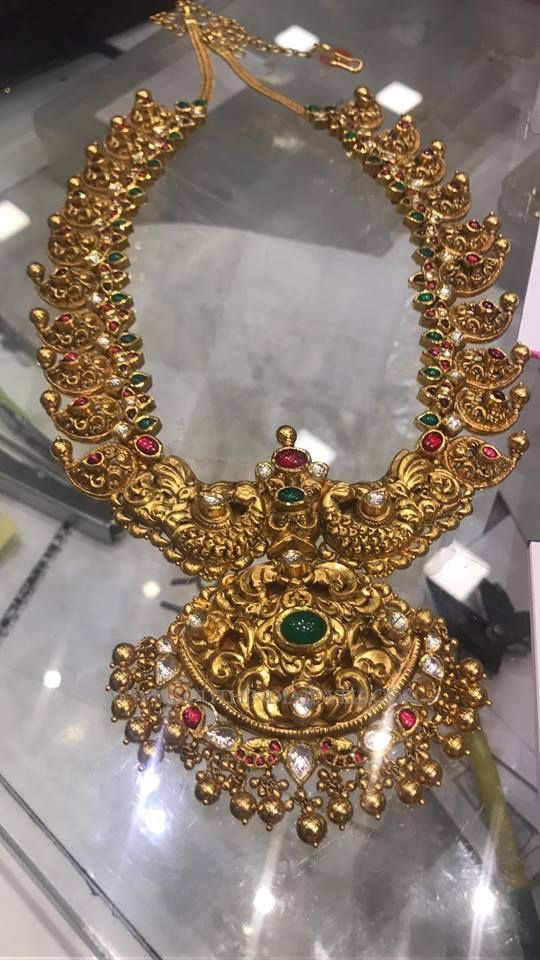Gold Antique Mango Necklace in 217 Grams, Gold Mango Necklace with Weight Details, Gold Necklace in 217 Grams.