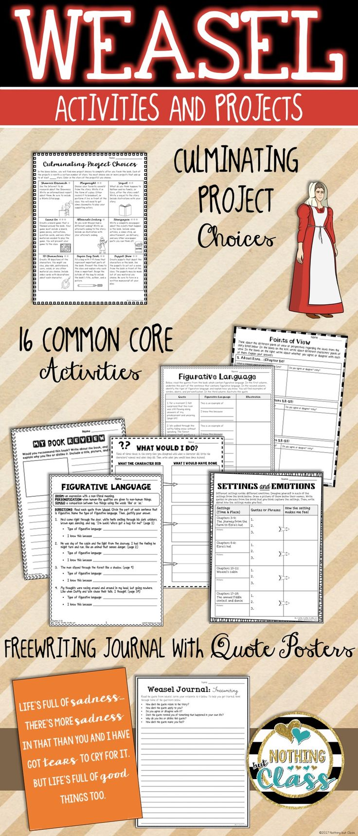 This activity packet for Weasel, by Cynthia DeFelice, contains 41 pages of creative, Common Core aligned resources.  Focus standards include character analysis, theme, figurative language, setting analysis, writing, and more. All Common Core activities have the Common Core code listed in the bottom corner, keeping both you and your students focused.   Perfect for whole classes, small groups, or even individuals.