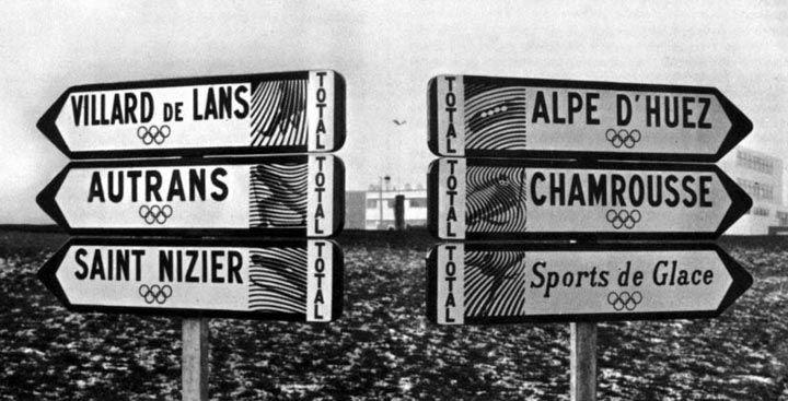 Roger Excoffon - Signalétique des Jeux Olympique de Grenoble  - 1968 - via Grapheine
