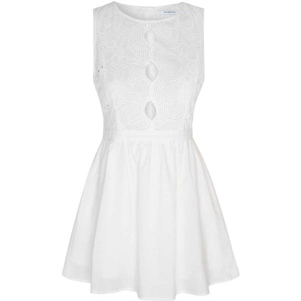 White Broiderie Anglaise Cut Out Dress ($52) ❤ liked on Polyvore featuring dresses, white, sleeveless summer dresses, summer dresses, white fit and flare dress, sleeveless skater dress and lace up dress