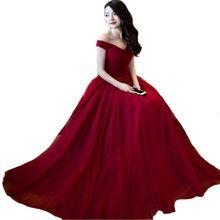 Borgoña 2016 Vestido de Dama de hombro Dama de Honer Invitado de boda vestido de Fiesta Formal de La Boda Vestido de dama de Honor Vestidos