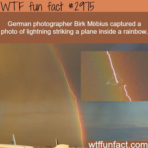 Photo of lightening striking a plane inside a rainbow - WTF fun facts