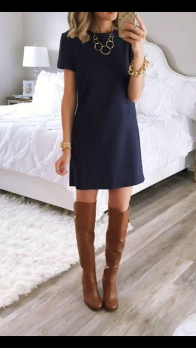 Simple Navy dress, brown boots. Gold accessories. Stitch Fix 2016 Summer to Fall