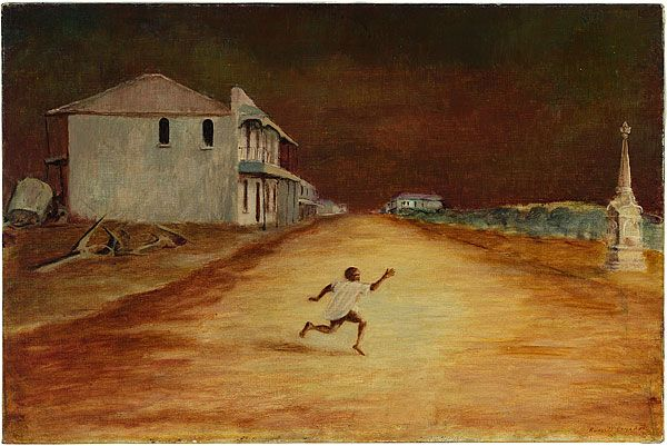 Boy running, Cooktown c.1952 - Russell Drysdale   This painting combines a number of characteristic Drysdale motifs: a long street leading to a vanishing point on the horizon, a building with veranda in profile and a dramatic sky balanced by a vast foreground.  There is an inherent drama in this image of a young Indigenous boy running across the street, his action rupturing the stillness of the picture. Drysdale depicts the boy in dynamic movement, yet he seems suspended in time and space.
