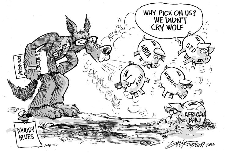 The latest Business Report weekly cartoon deals with Moody's downgrade of the top four banks after the failure of African Bank.