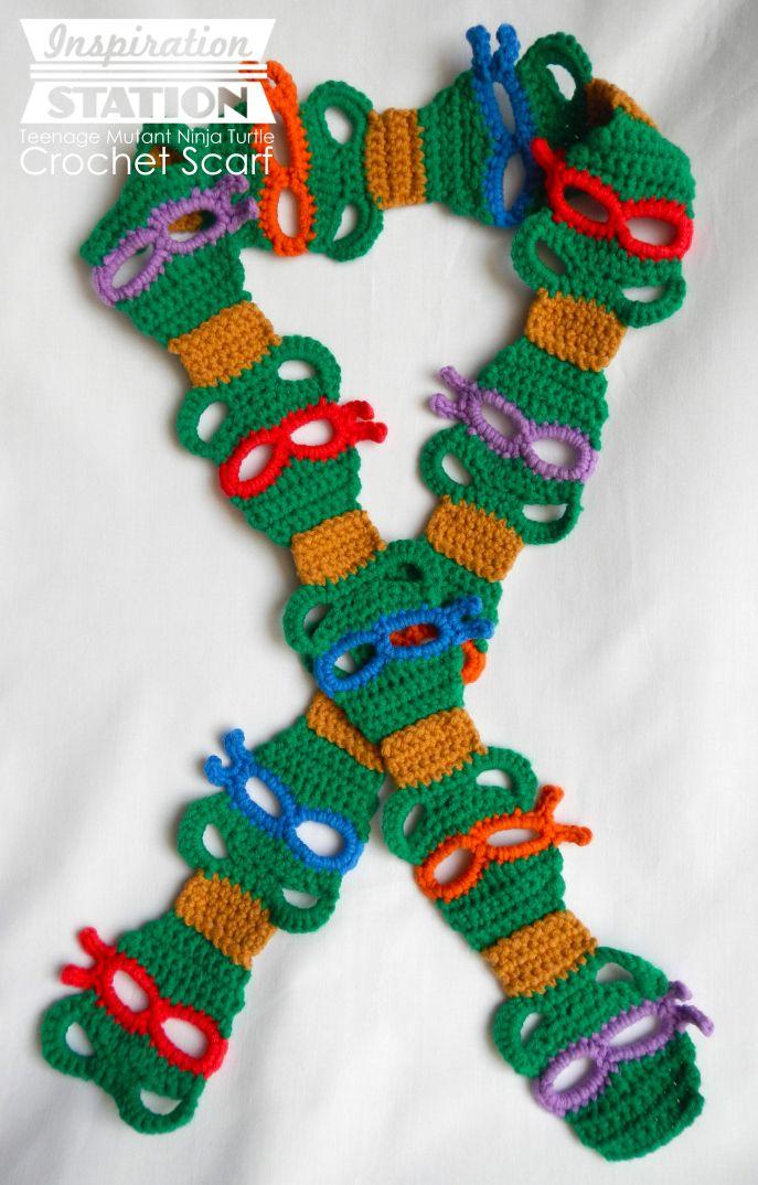 Teenage Mutant Ninja Turtles Scarf ~ Free TMNT Crochet Pattern