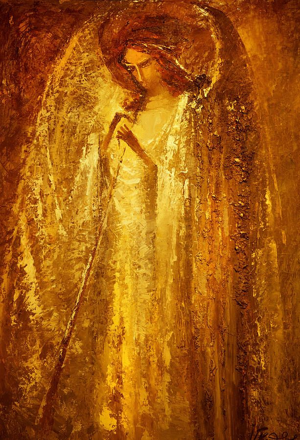 Golden Light Of Angel by Valentina Kondrashova Original painting on canvas…
