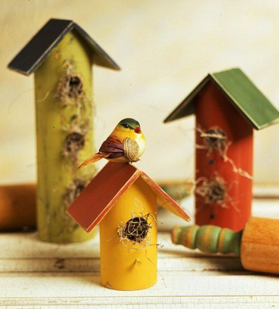 Rolling Pin Birdhouses  How about paper towel and toilet paper tubes for a cute kids craft?