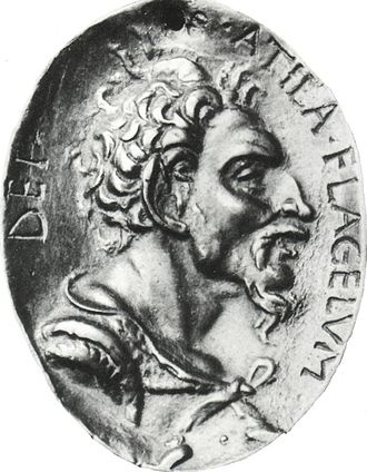 Attila the Hun (R. over the Huns from 434-453). With his brother Bleda, Attila succeeded his uncle, and became sole king in 445. Attila was the scourge of both the Eastern and Western halves of the Roman Empire. Told the Romans he would leave them alone if they paid enough gold; invaded when they didn't. Invaded Italy after Honoria begged for his help getting out of an unwanted marriage, claiming he was now betrothed to the princess.  Died shortly thereafter.