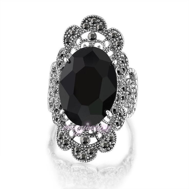 Vintage Black Crystal Hollow Out Marcasite Ring White Gold Plated Free Shipping