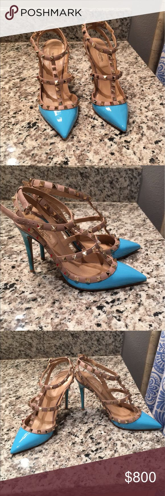 Valentino Rockstud Pumps Almost- new condition. Valentino rockstud pumps in turquoise. Box, dustbag and extra studs included. Size 38. Dont miss out on these beauties. Valentino Shoes Heels