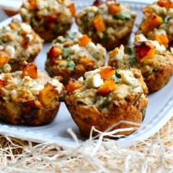 Savoury muffins, brimming with sweet roasted squash, fresh herbs, and salty feta. Amazing warm, with a smear of herbed butter!
