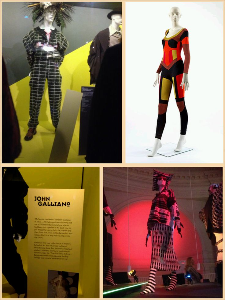 """To the left of this image is an item from John Galliano's collection in the 1980s a suit that has been manufactured as normal and then dismantled creating a futuristic look. The image below is an in depth description. Top right is the historical introduction to the body-con look, people became mesmerized by the fact the we could be fully clothed yet showcase our curves. Bottom left corner is a garment named """"body map"""" this was identified by never ending layers of print & deconstructed…"""