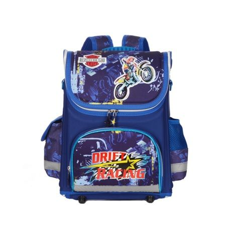 Children School Backpack with Drift Racing Digital Printing on Pocket