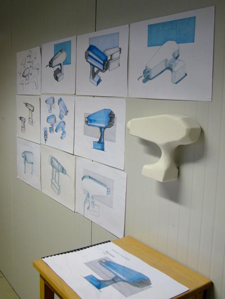 Izabella Chmielnik (School of Form) drill sketches and a foam model
