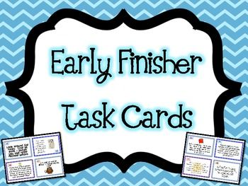 """*52* Task Cards for Early Finishers! Rather than have your students work on """"busy work,"""" engage them with these Early Finisher task cards. With many different types of tasks that cover Bloom's and tap into the different learning styles of children, these task cards will provide you with weeks worth of answers to the question """"I'm done. What do I do?"""" All you need to do is print the task cards and sent your students off to work and have fun...No other supplies necessary!"""