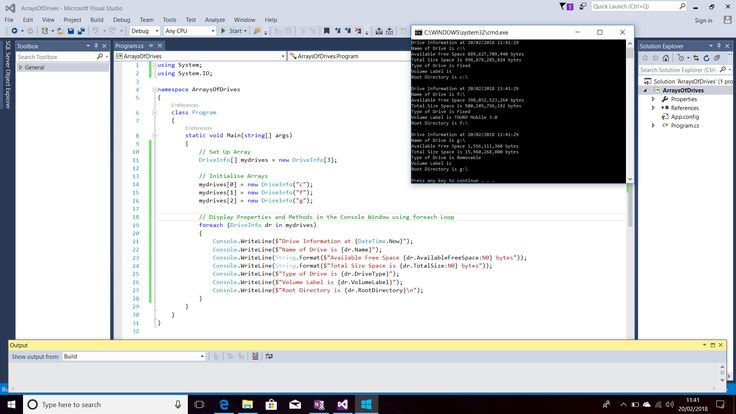 Screenshot of C# Code with Arrays of the DriveInfo Class.  Use of foreach Loop to Display Properties (e.g. AvailableFreeSpace).  Displayed Output in the Console Window.  Text Editor - Visual Studio 2015.  Taken on 20 February 2018.