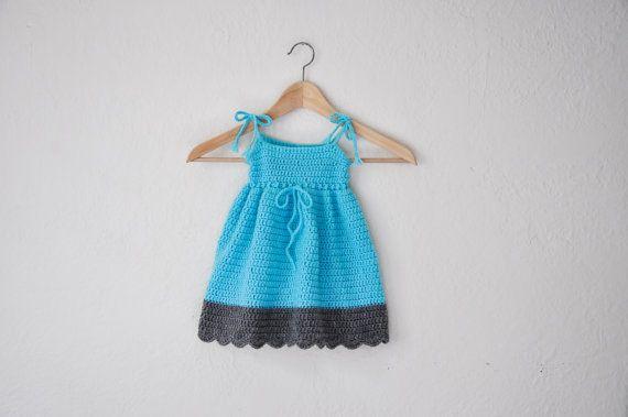 SUMMER SALE Baby Sun Dress Blue Summer Dress by courtneyannabanana, $40.00