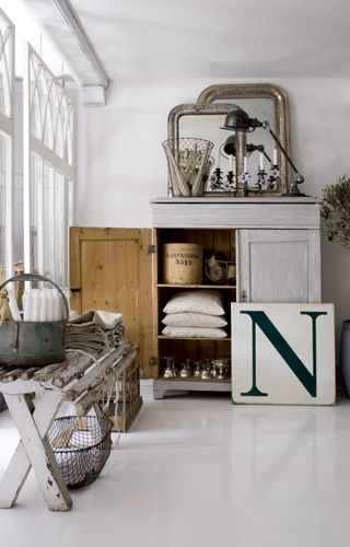 """I'm crazy about the bench! happyathome: Oh how I love the large """"N"""". It would be so fun to do something similar in my house. via Simply Objekts"""