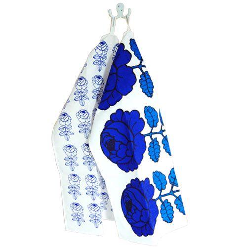 Marimekko Vihkiruusu Blue Tea Towel Set of 2 $17.25