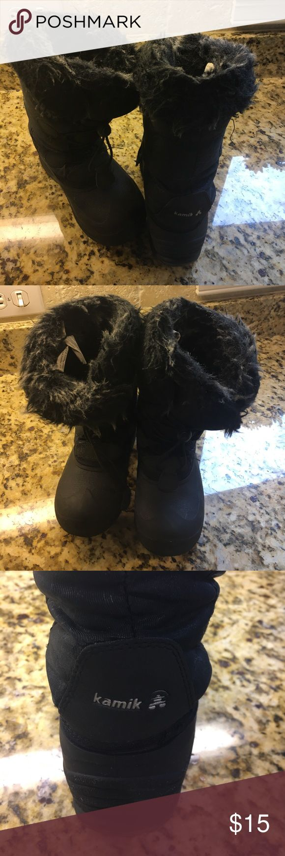 Kamik winter boots for kids Black winter boots made by Kamik from Nordstrom. Size 13. Great condition! Fur lined inside and top, winter proof and insulted water proof boots! Kamik Shoes Rain & Snow Boots
