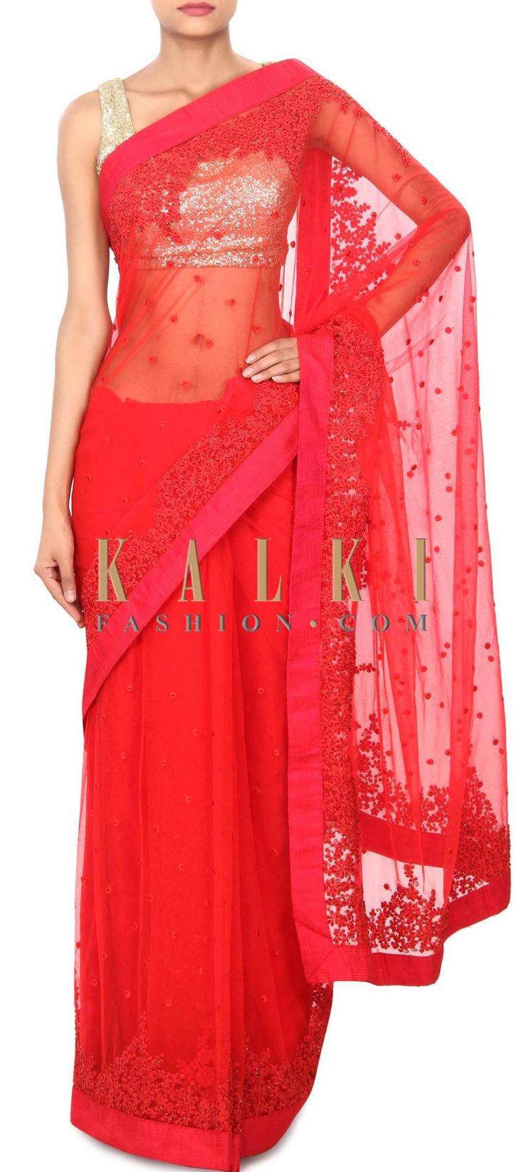 Buy Online from the link below. We ship worldwide (Free Shipping over US$100) Price- $249 Click Anywhere to Tag http://www.kalkifashion.com/red-saree-enhanced-in-thread-and-kardana-work-only-on-kalki.html