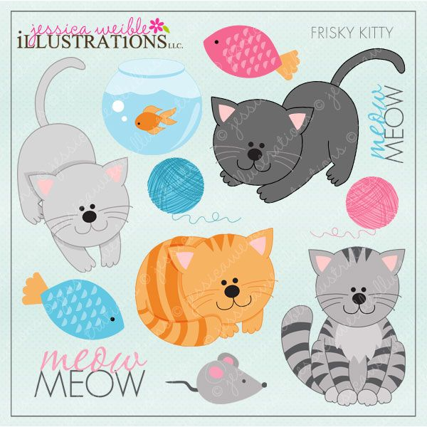 Frisky Kitty Cute Digital Clipart for Card Design, Scrapbooking, and Web Design…