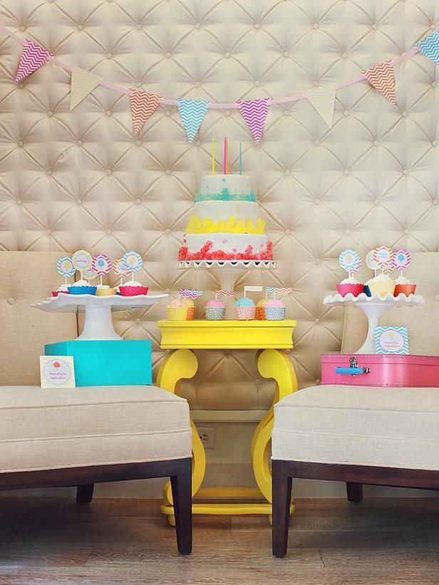 Sugar Rush  What party theme could be sweeter than a cotton candy theme? Filled with bright colors, cool patterns, lots of frills and sugary treats, this theme is sure to please the sweetest little girls.   Share This Photo Gallery  Facebook Twitter Link to this Photo Gallery: