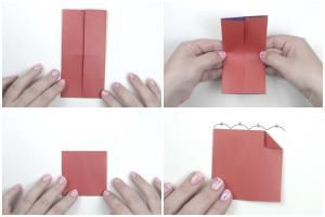 Learn how to make a Puffy Origami Heart with these clear origami instructions. I love this 3D origami heart, it also opens up like a clam shell.: Origami Puffy Heart Instructions - Step 2