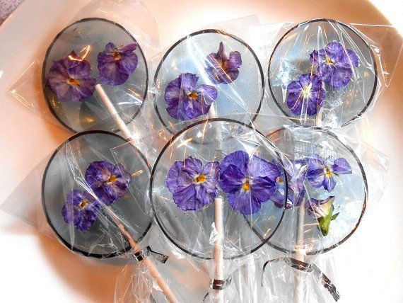 Gourmet Blueberry Ice Violas Edible Giant Lollipops Candied Fresh Flowers Wedding Favors Something Blue - you say? These lollipops are made to