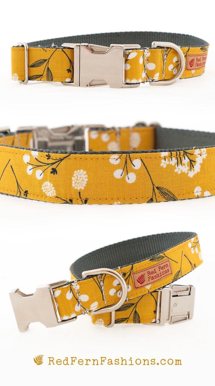 Mustard Yellow Dog Collar For Girls Flower Dog Collar Puppy