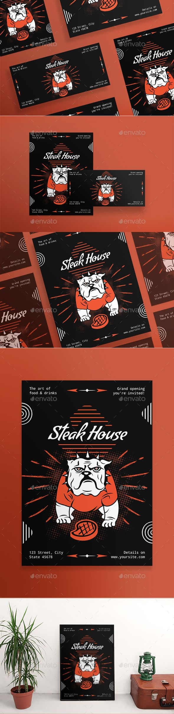 Steak House Flyers A huge bundle of minimal, clean and professional flyers (US, Letter, DL and A5 formats) and posters (420x594 mm and 18x24 in US format). Easy to use and customize, with modern design ¨C universal and thematically specific ones. Flyer templates are excellent for promotion, invitation, beauty, fashion, business, restaurant, nightclubs and all kind of