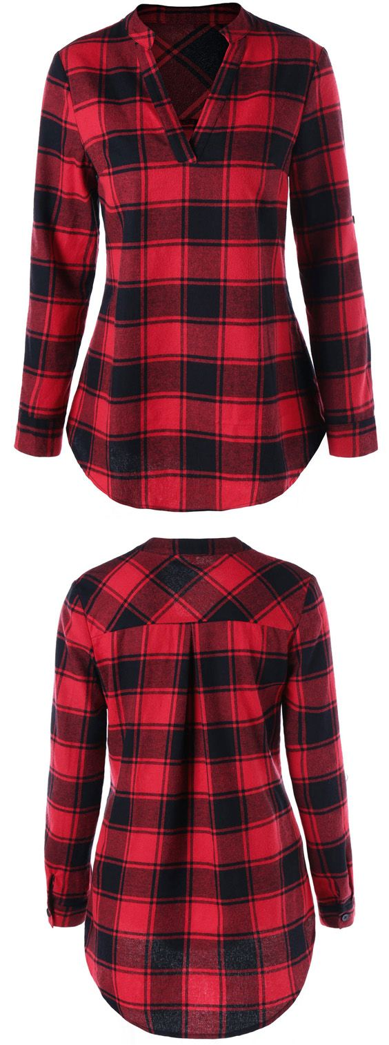 Plaid Curved Hem Blouse.  Love this plaid top and I like that it is not a button up.