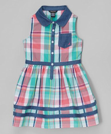 Look at this #zulilyfind! Light Teal & Chambray Plaid Dress - Infant, Toddler & Girls by Nautica #zulilyfinds