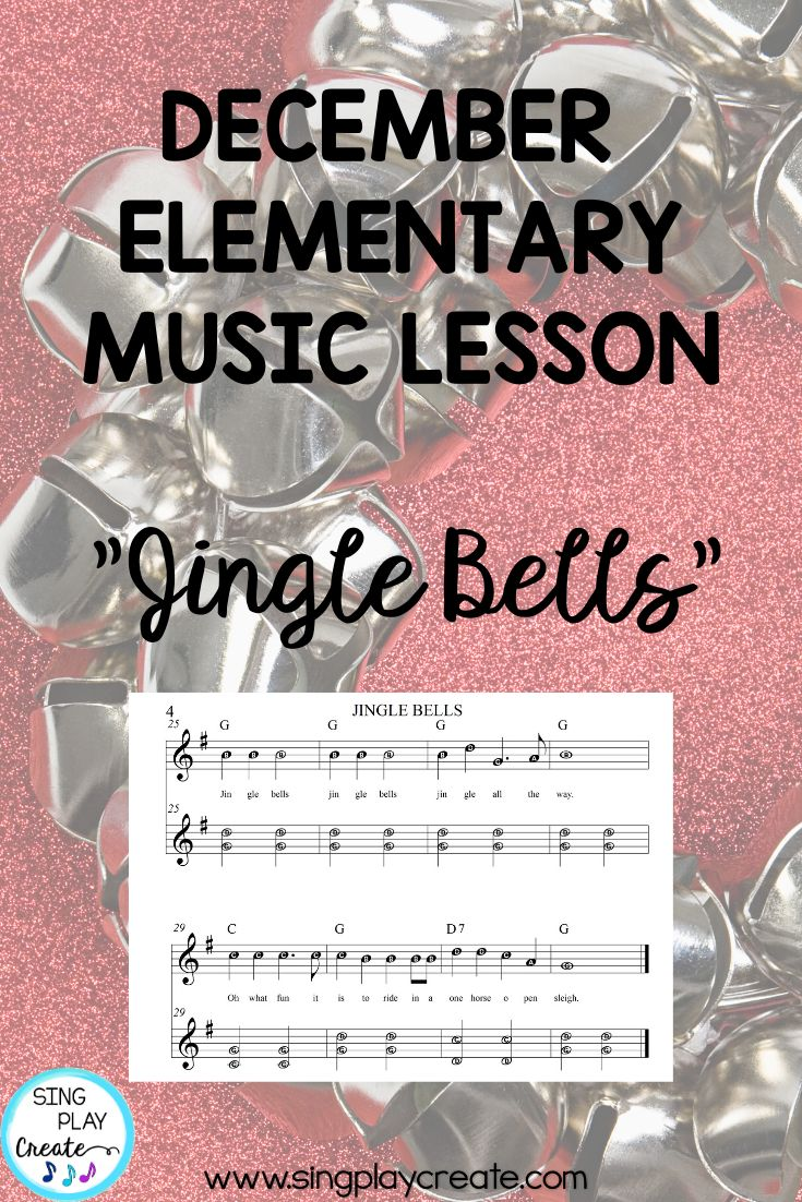 Holiday Music Lesson Jingle Bells Orff Guitar Keyboard