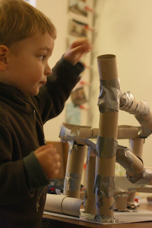 Paper Tube Marble Run - DIY with your child!.... I can see Ryan building this with Scott one day!