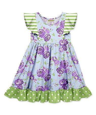caba4877c6d5 Another great find on  zulily! Purple Floral   Green Dot Cotton ...