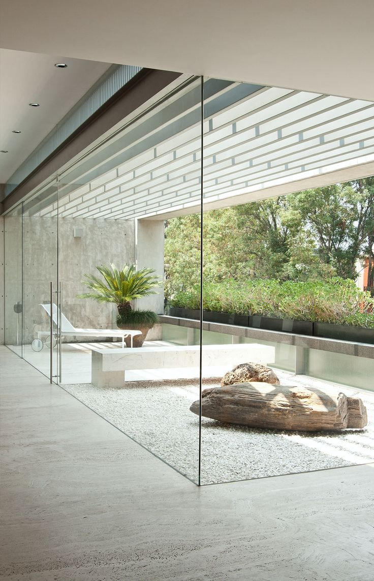 Glass walls and Japanese garden?
