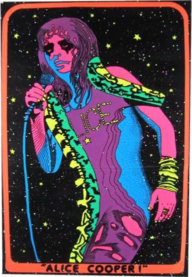 1973 Alice Cooper  black light poster  I had this poster! Black lights were huge in the 70s, I still own one though I no longer have this poster it definitely brought back some good memories