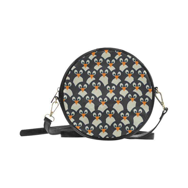 Penguin Pile-Up Round Messenger Bag (Model 1647)