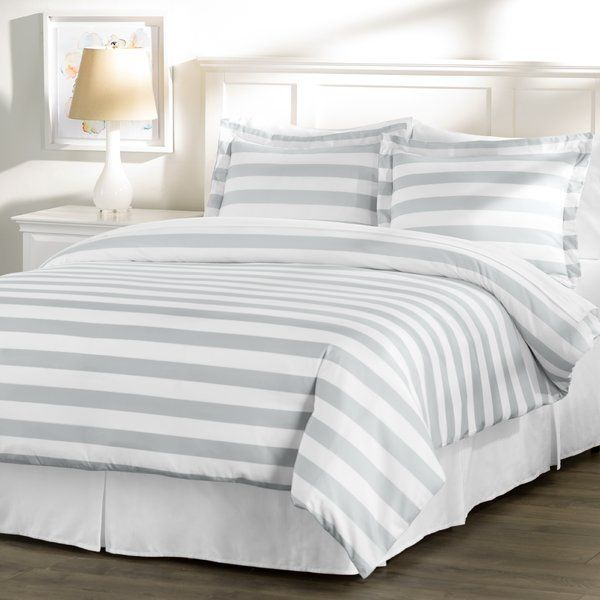With a stylish stripe motif, this classic duvet cover set is a perfect foundation for your master suite or guest room retreat. Try tossing on a few woven throws for a lodge-inspired look, or add patterned sheets to create a chic pop of contrast.