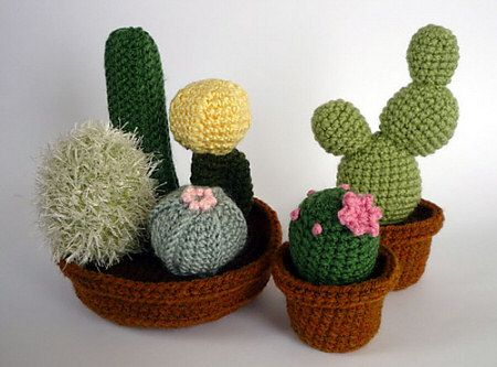 love these crochet cactuses by planetjune!