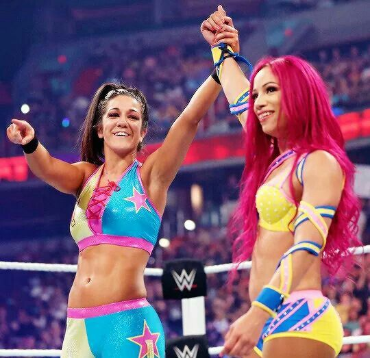 Bayley & Sasha Banks won their match against Charlotte & Dana Brooke at WWE Battleground