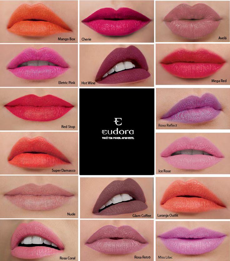 Revele a sua beleza. Permita-se ousar com as cores fashion dos Batons Soul Kiss Me Eudora e crie um make que deixa sua marca e combina com sua personalidade. #eudora #amobatom #make Soul Kiss Me Batom Hidratante R$15,99 cada