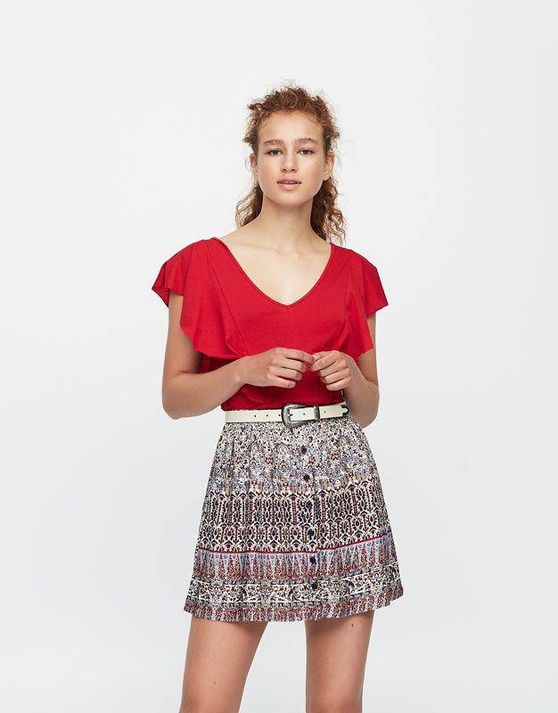 Minifalda vuelo estampada - Faldas - Ropa - Mujer - PULL&BEAR España