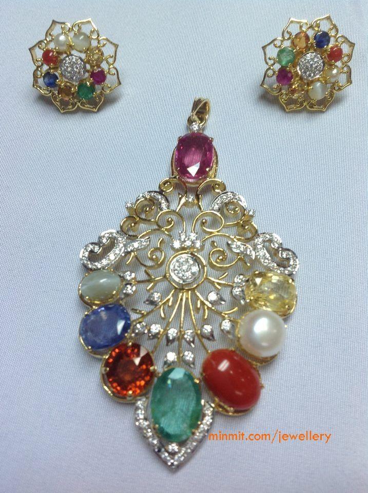 navaratna pendant and tops set from boorugu bros jewellers