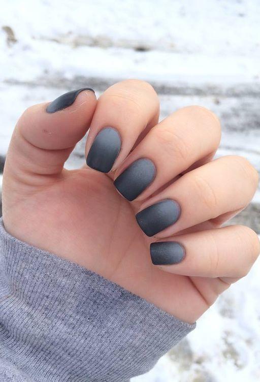 20 Black Into Grey Ombre Matte Short Nails Ideas 2018 Nails